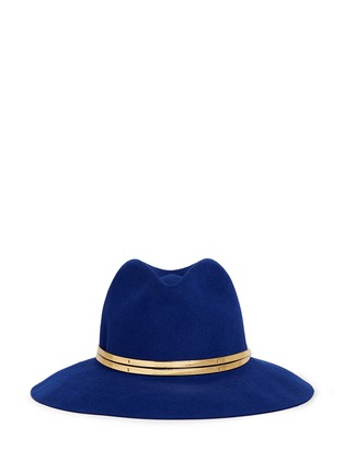 Main View - Click To Enlarge - Sensi Studio - Mirror leather band wool felt fedora hat