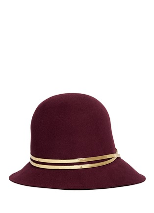 Main View - Click To Enlarge - Sensi Studio - Mirror leather band wool felt cloche hat