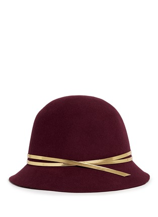 Figure View - Click To Enlarge - Sensi Studio - Mirror leather band wool felt cloche hat
