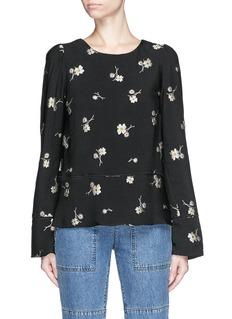 CHLOÉFlower jacquard crepe blouse