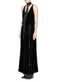 CHLOÉV-neck velvet wrap maxi dress