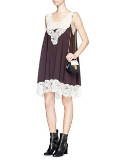 CHLOÉ Floral lace trim layered virgin wool dress