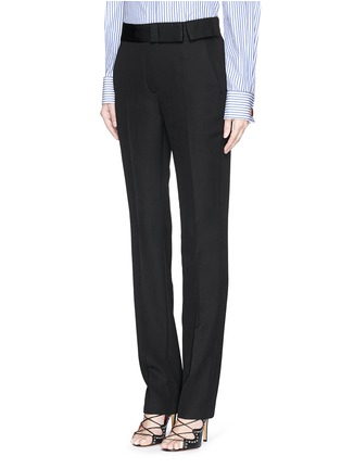 Front View - Click To Enlarge - Lanvin - Grosgrain bow waistband wool pants