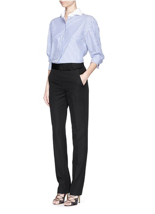 Figure View - Click To Enlarge - Lanvin - Grosgrain bow waistband wool pants