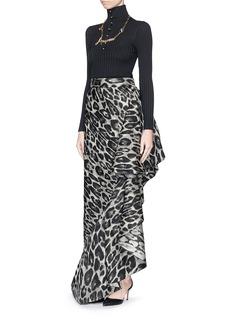 LANVINLeopard jacquard ruffle long skirt