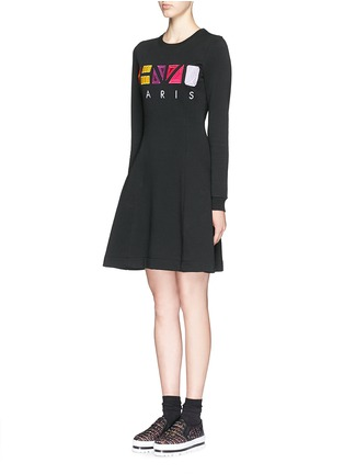 Front View - Click To Enlarge - KENZO - Geometric logo embroidery skater sweater dress