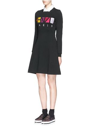 Figure View - Click To Enlarge - KENZO - Geometric logo embroidery skater sweater dress