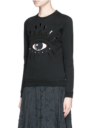 Front View - Click To Enlarge - KENZO - Beaded eye embroidery sweatshirt