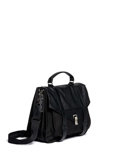 Proenza Schouler 'PS1' extra large leather flap nylon satchel