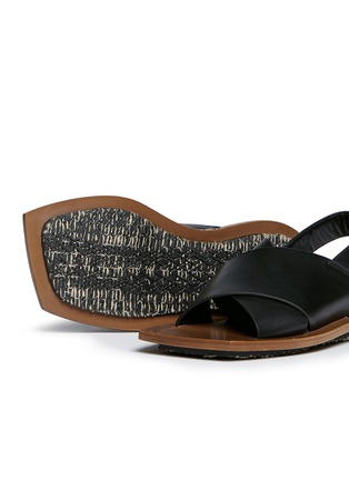 Detail View - Click To Enlarge - Marni - Angular wood frame leather sandals