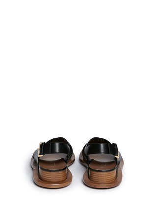 Back View - Click To Enlarge - Marni - Angular wood frame leather sandals