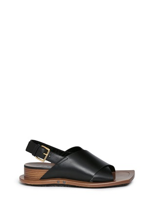 Main View - Click To Enlarge - Marni - Angular wood frame leather sandals