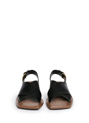 Figure View - Click To Enlarge - Marni - Angular wood frame leather sandals