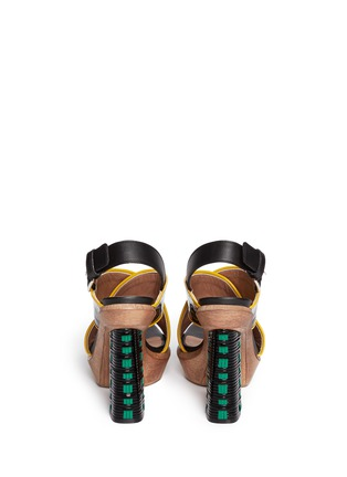 Back View - Click To Enlarge - Marni - Woven block heel patent leather sandals