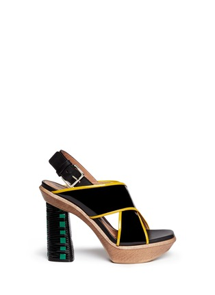Main View - Click To Enlarge - Marni - Woven block heel patent leather sandals