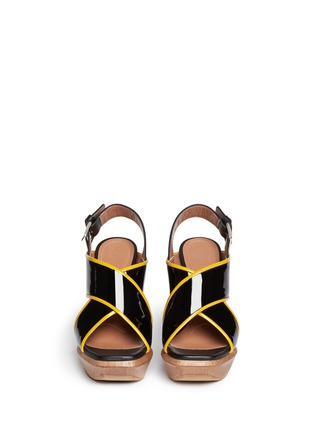 Figure View - Click To Enlarge - Marni - Woven block heel patent leather sandals