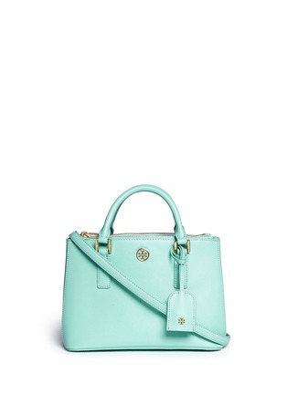 Main View - Click To Enlarge - Tory Burch - 'Robinson' micro double zip saffiano leather tote