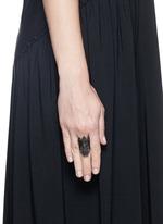 'Moth' diamond black rhodium silver ring