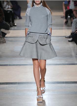 SACAI-Plaid flare skirt