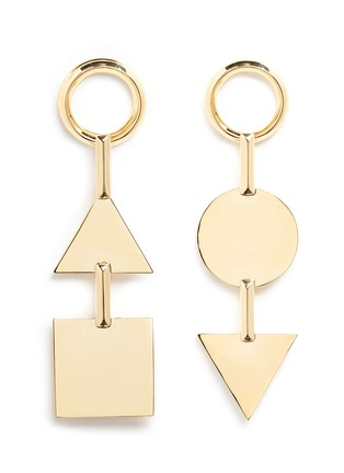 Main View - Click To Enlarge - Eddie Borgo - 'Mismatched Token' 12k gold plated earrings