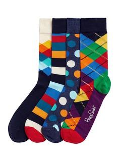 Happy SocksMix pattern socks 4-pair gift box