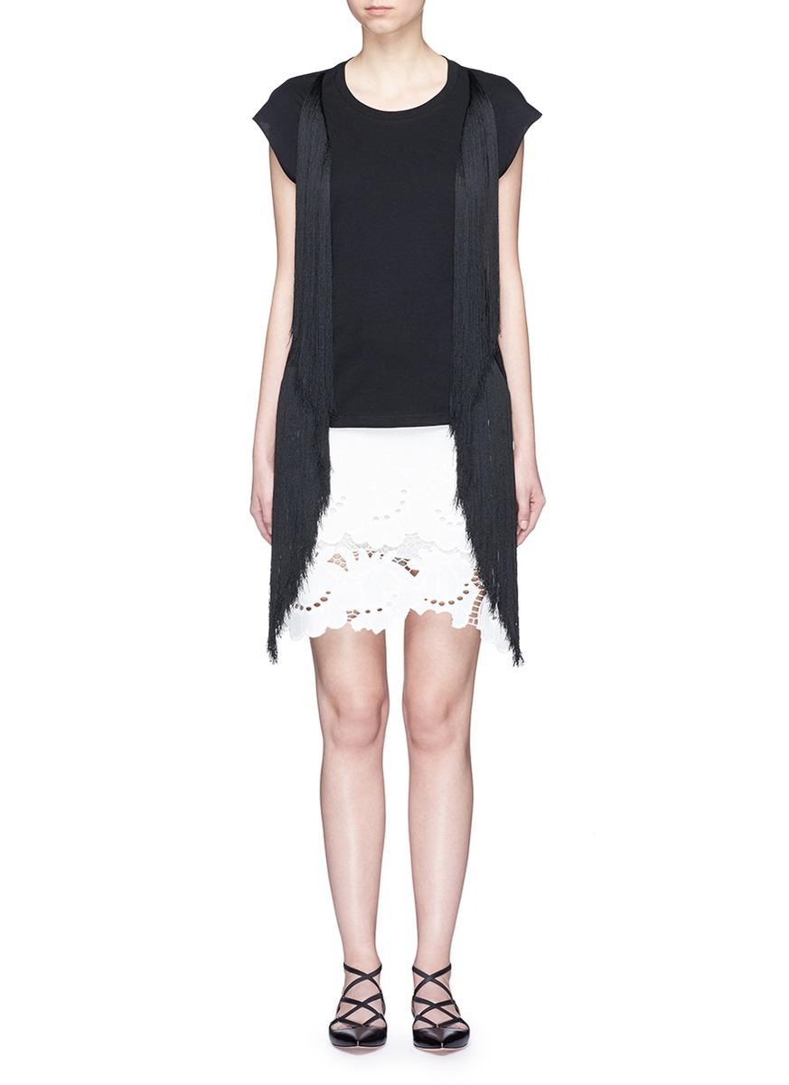 Fringe side cotton T-shirt by Giamba