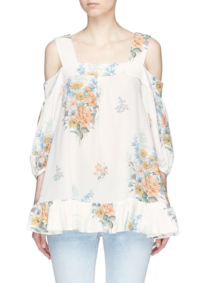 Floral print silk cold shoulder ruffle top by Alexander McQueen