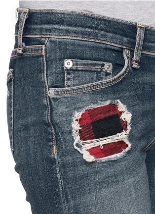 Detail View - Click To Enlarge - rag & bone/JEAN - Distressed tartan underlay skinny jeans