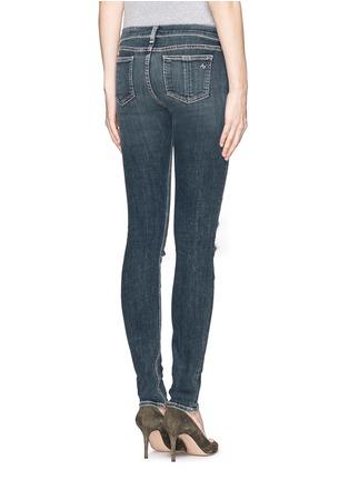 Back View - Click To Enlarge - rag & bone/JEAN - Distressed tartan underlay skinny jeans