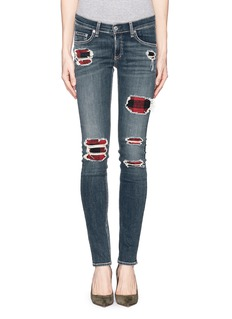 RAG & BONE/JEANDistressed tartan underlay skinny jeans