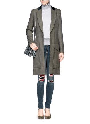 Figure View - Click To Enlarge - rag & bone/JEAN - Distressed tartan underlay skinny jeans