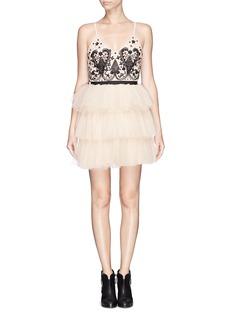 ALICE + OLIVIA'Drury' beaded ruffle ballerina dress