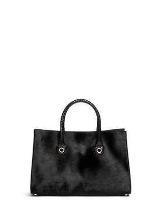 Back View - Click To Enlarge - Jimmy Choo - 'Riley' snakeskin handle pony hair tote