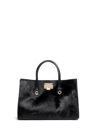 Main View - Click To Enlarge - Jimmy Choo - 'Riley' snakeskin handle pony hair tote