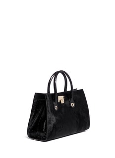 JIMMY CHOO 'Riley' snakeskin handle pony hair tote