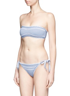 SAME SWIM 'The Babe' stitched denim effect bandeau top