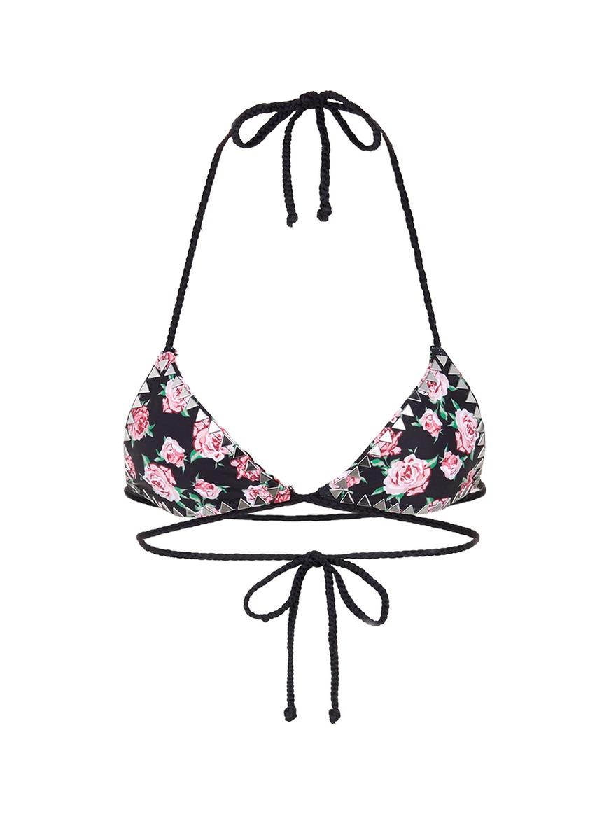The Vixen stud floral print bikini top by SAME SWIM