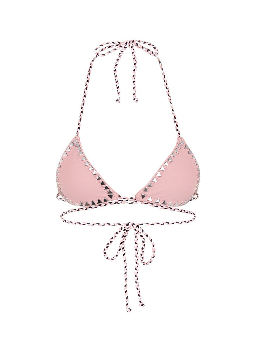 The Vixen cross front stud triangle bikini top by SAME SWIM
