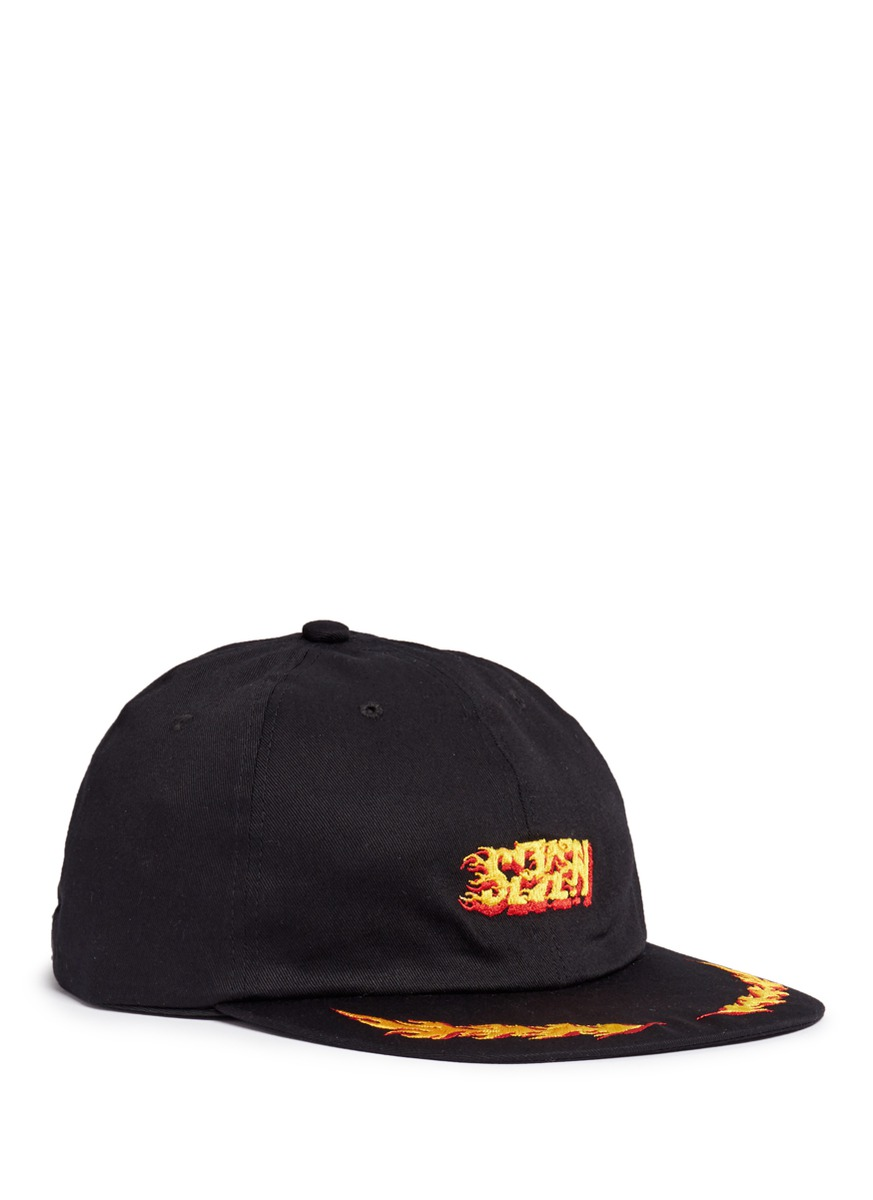 Flame embroidered baseball cap by Studio Seven