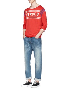 Scotch & Soda'Heroes' appliqué stripe vintage wash sweater