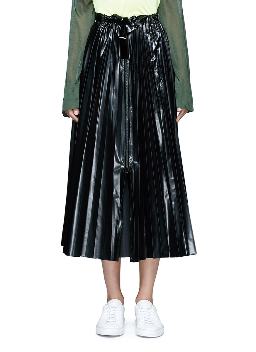 Tie waist laminated effect pleated midi skirt by TOGA ARCHIVES