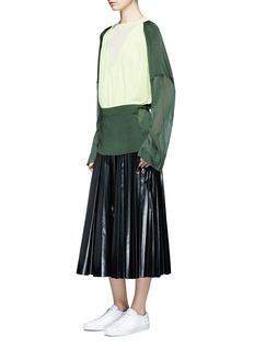 TOGA ARCHIVESTie waist laminated effect pleated midi skirt