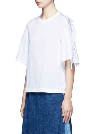 Front View - Click To Enlarge - TOGA ARCHIVES - Knotted fringe sleeve cotton T-shirt