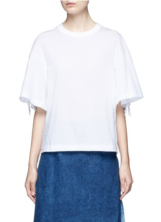 Main View - Click To Enlarge - TOGA ARCHIVES - Knotted fringe sleeve cotton T-shirt