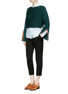 TOGA ARCHIVESSplit sleeve braided trim cropped sweater