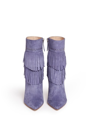 Front View - Click To Enlarge - Aperlai - 'Penelope' fringed suede boots