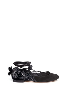 Sophia Webster 'Harmony' glitter butterfly appliqué suede and patent ballet flats