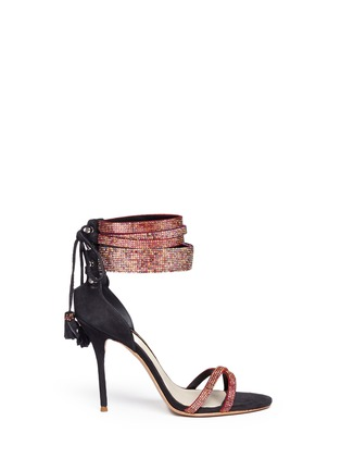 Main View - Click To Enlarge - Sophia Webster - 'Adeline' strass pavé strap suede sandals