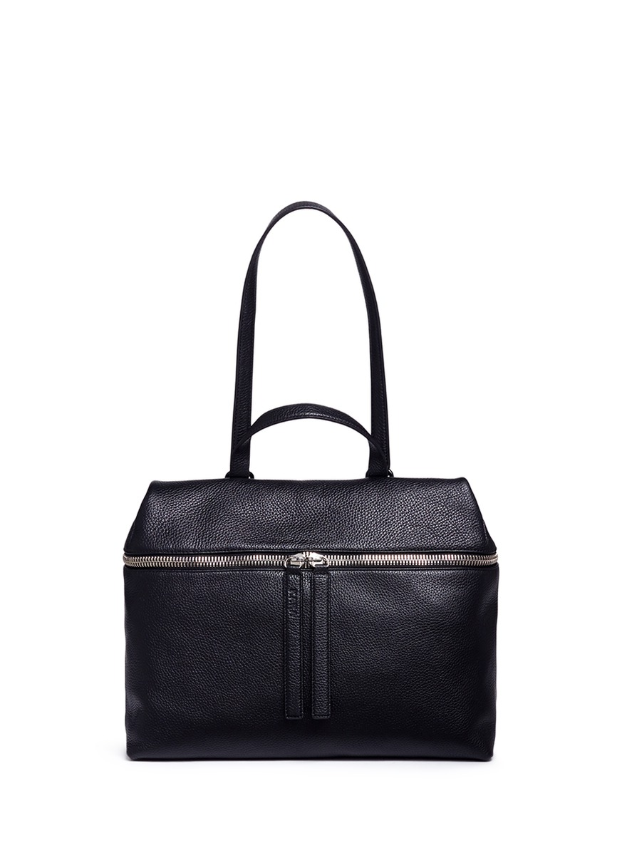 Pebbled leather top handle satchel by Kara