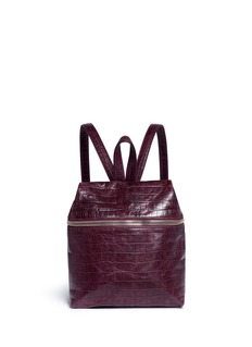 Kara Small croc embossed leather backpack